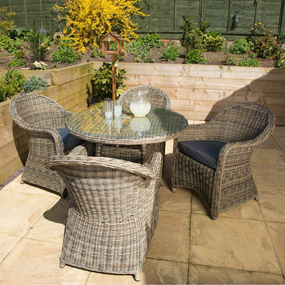 Rattan 4 Seater Round Outdoor Dining Set