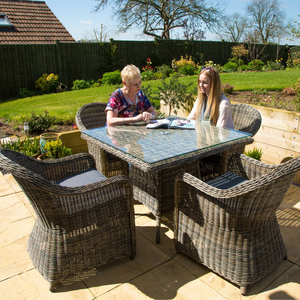 Rattan 4 Seater Square Outdoor Dining Set