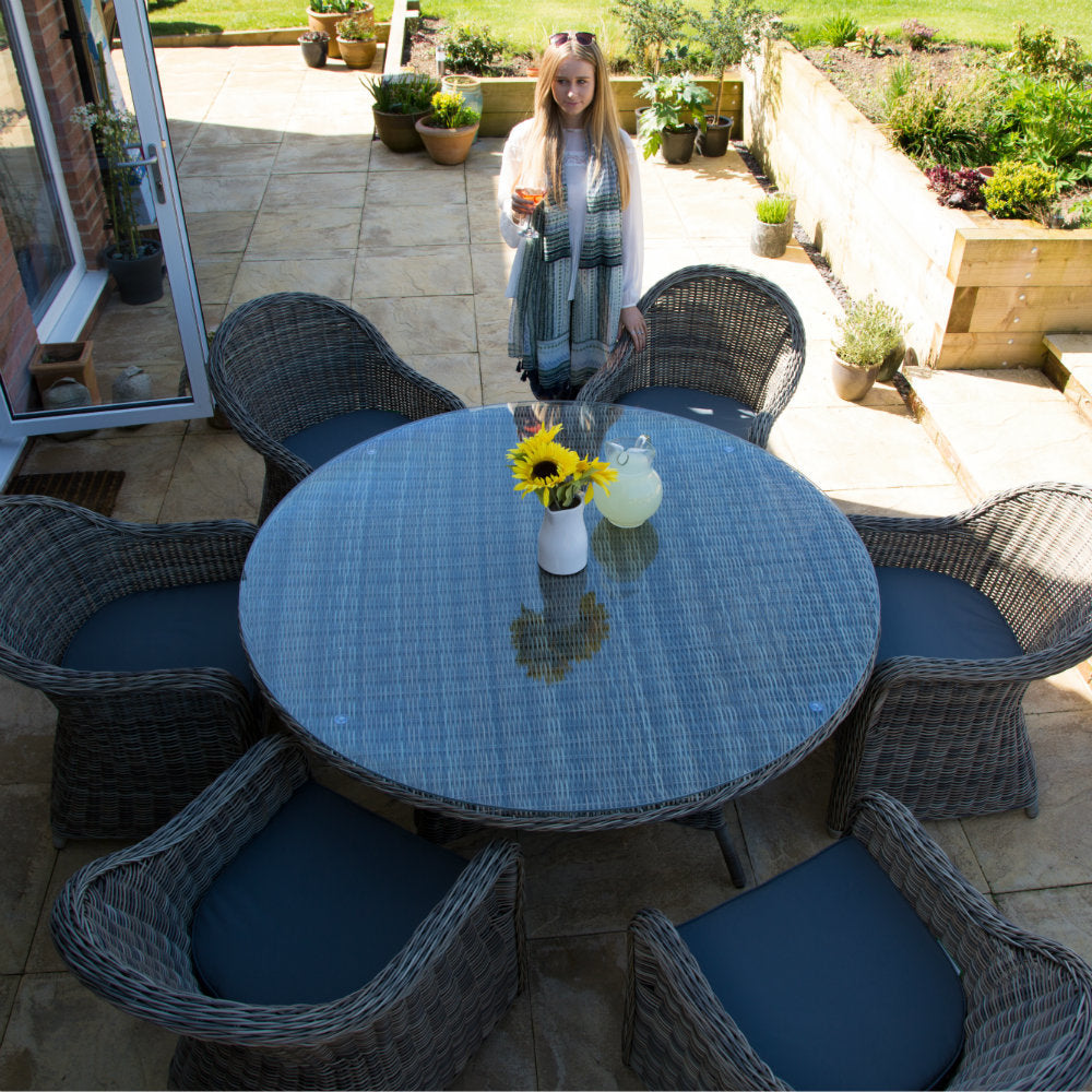 Rattan 6 Seater Round Outdoor Dining Set