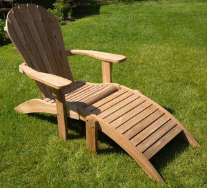 Brilliant Teak Adirondack Chair With Ottoman Footrest Wooden Outdoor Gmtry Best Dining Table And Chair Ideas Images Gmtryco