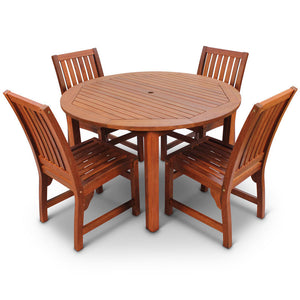 Robust Hardwood 4 Seater Dining Set With 120cm Diameter Round Table