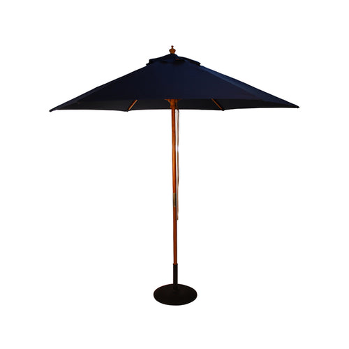 2.5M Parasol Hardwood Garden Umbrella, Dark Blue, Pulley Operated