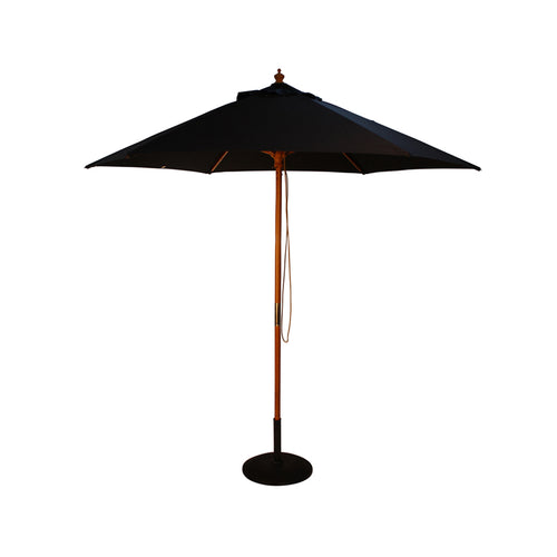 2.5M Parasol Hardwood Garden Umbrella, Black, Pulley Operated