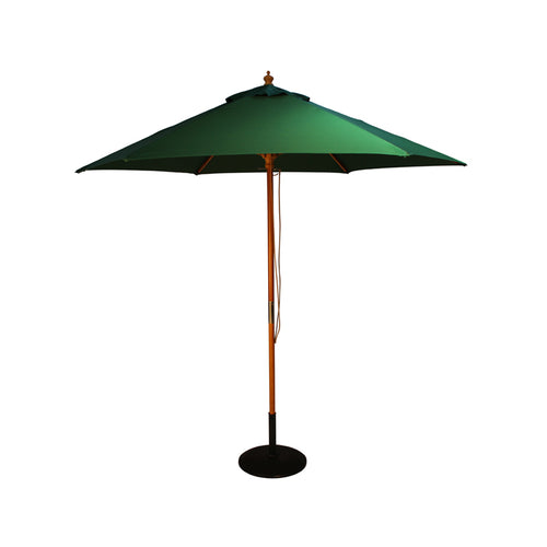2.5M Parasol Hardwood Garden Umbrella, Forest Green, Pulley Operated