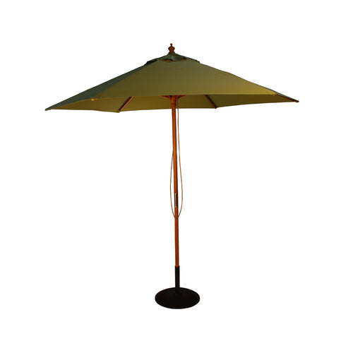 2.5M Parasol Hardwood Garden Umbrella, Light Green, Pulley Operated