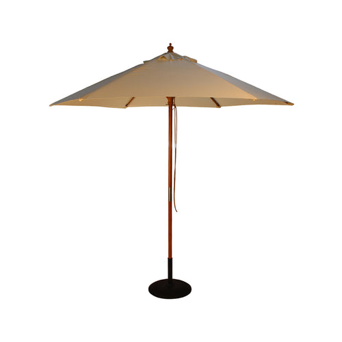 2.5M Parasol Hardwood Garden Umbrella, Natural, Pulley Operated