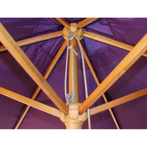 2.5M Parasol Hardwood Garden Umbrella, Purple, Pulley Operated