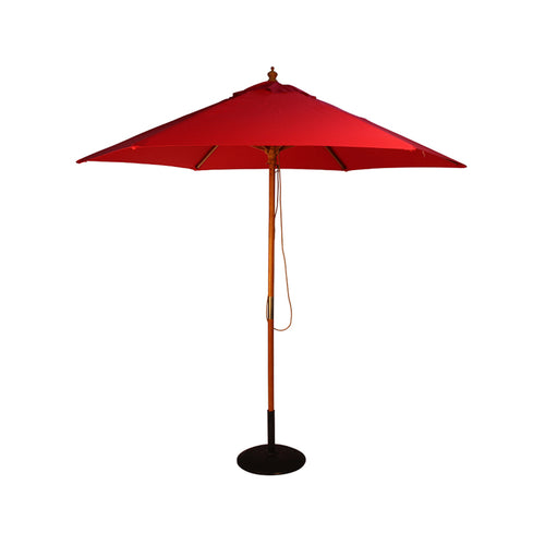 2.5M Parasol Hardwood Garden Umbrella, Red, Pulley Operated