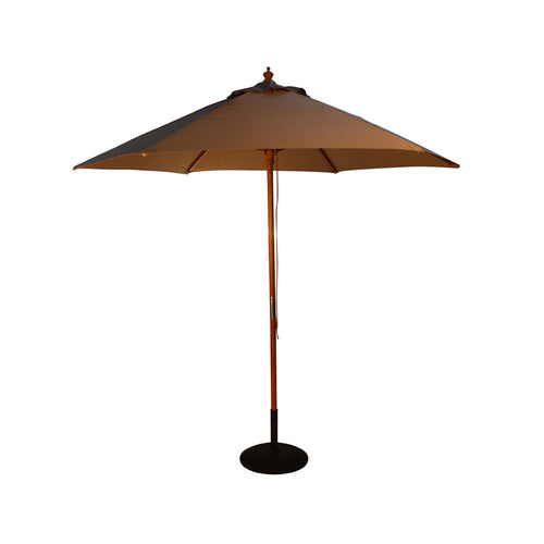 2.5M Parasol Hardwood Garden Umbrella, Taupe, Pulley Operated