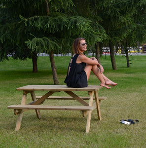 Picnic Table Wooden 1.4m 6 seat for gardens, parks, schools, pubs.