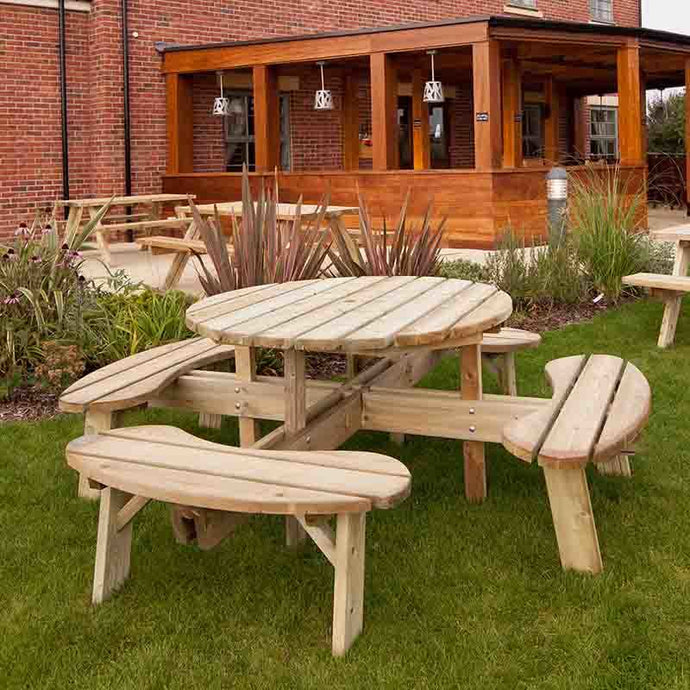 Heavy Duty Large Round Picnic Table 8 Seat 215cm Footprint