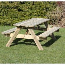 Load image into Gallery viewer, Picnic Table Wooden 1.4m 6 seat for gardens, parks, schools, pubs.