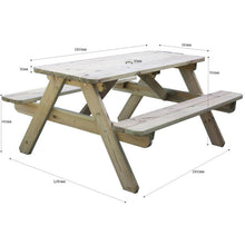 Load image into Gallery viewer, Picnic Table Wooden 6ft  8 seat 1.8m for gardens, parks, schools, pubs.