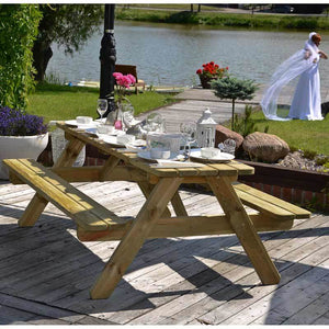Picnic Table Wooden 6ft  8 seat 1.8m for gardens, parks, schools, pubs.