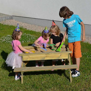 Children's combined sandpit and picnic table