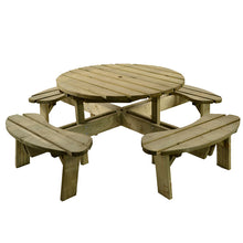 Load image into Gallery viewer, Heavy Duty Large Round Picnic Table 8 Seat 215cm Footprint