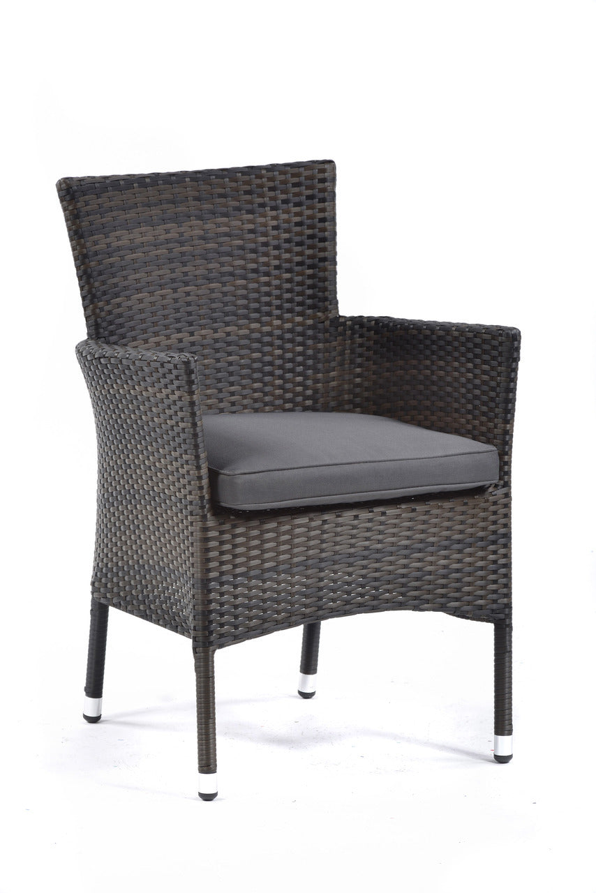 Luxury Rattan Armchair with Light Grey Cushion