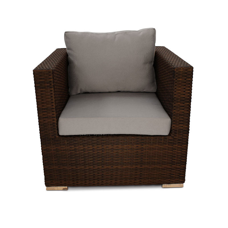 Luxury Rattan Armchair with Light Grey Cushions
