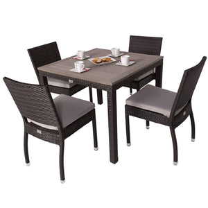Andreas Rattan 4 Seat Outdoor Dining Set with Plaswood Top