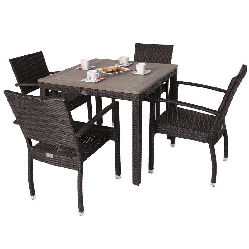 Apollo Rattan 4 Seat Outdoor Dining Set with Plaswood Topped Square Table