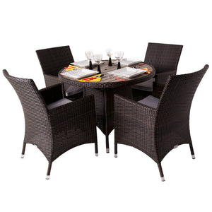 Rattan Dining Set with 4 Armchairs and Plaswood Top Round Table