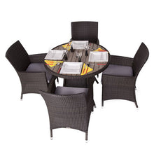 Load image into Gallery viewer, Rattan Dining Set with 4 Armchairs and Plaswood Top Round Table