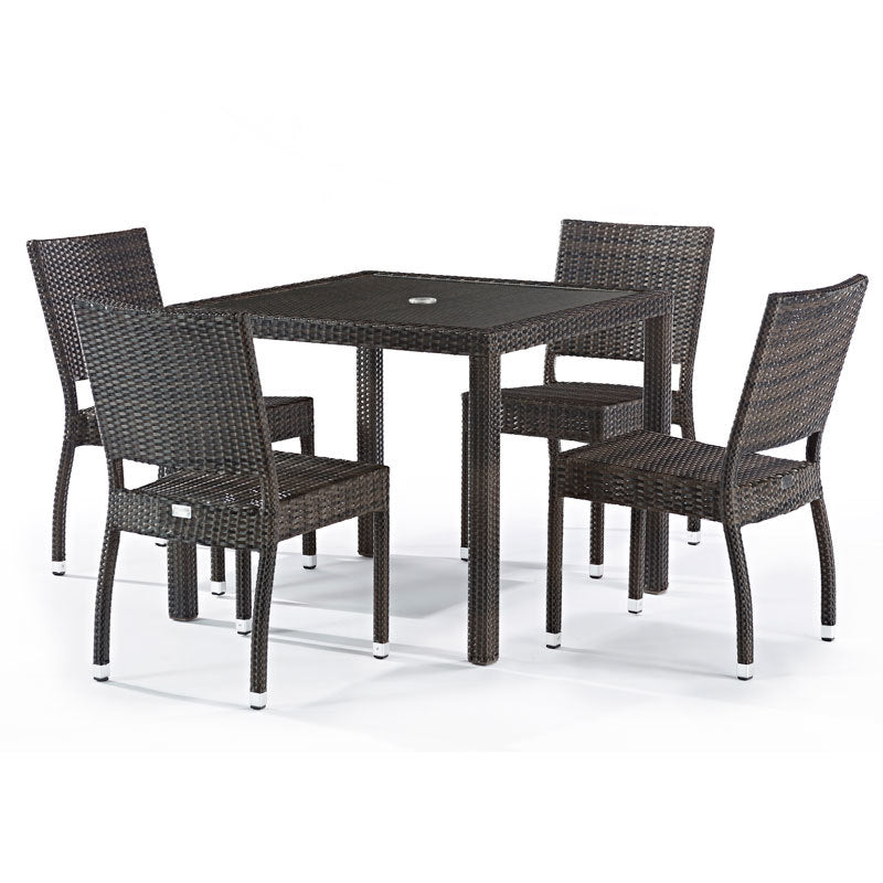 Andreas Rattan 4 Seat Outdoor Dining Set with Inlaid Glass Top
