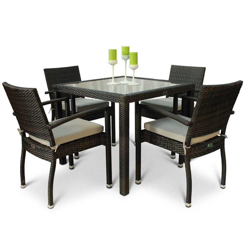 Apollo 4 Seat Rattan Outdoor Dining Set with Inlaid Glass Square Top