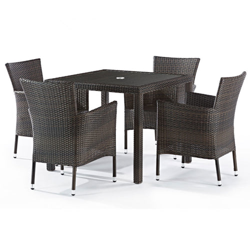Alonso Rattan 4 Seat Outdoor Dining Set with Inlaid Glass Top