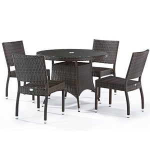 Rattan 4 Seat Dining Set with Glass Top Circular Table