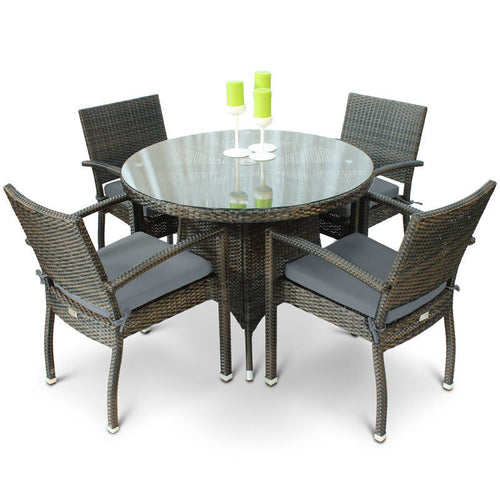 Diego 4 Seat Rattan Dining Set with Circular Glass Top Table