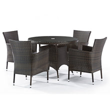 Load image into Gallery viewer, Fazzio Rattan 4 Seat Dining Set with Round Glass Top