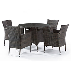 Fazzio Rattan 4 Seat Dining Set with Round Glass Top