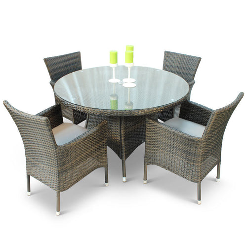 Leonardo Rattan Dining Set with Large Glass Top Table and 4 Armchairs