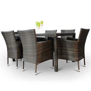 Glass Top Rattan Outdoor Dining Set with 6 Armchairs