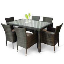 Load image into Gallery viewer, Glass Top Rattan Outdoor Dining Set with 6 Armchairs