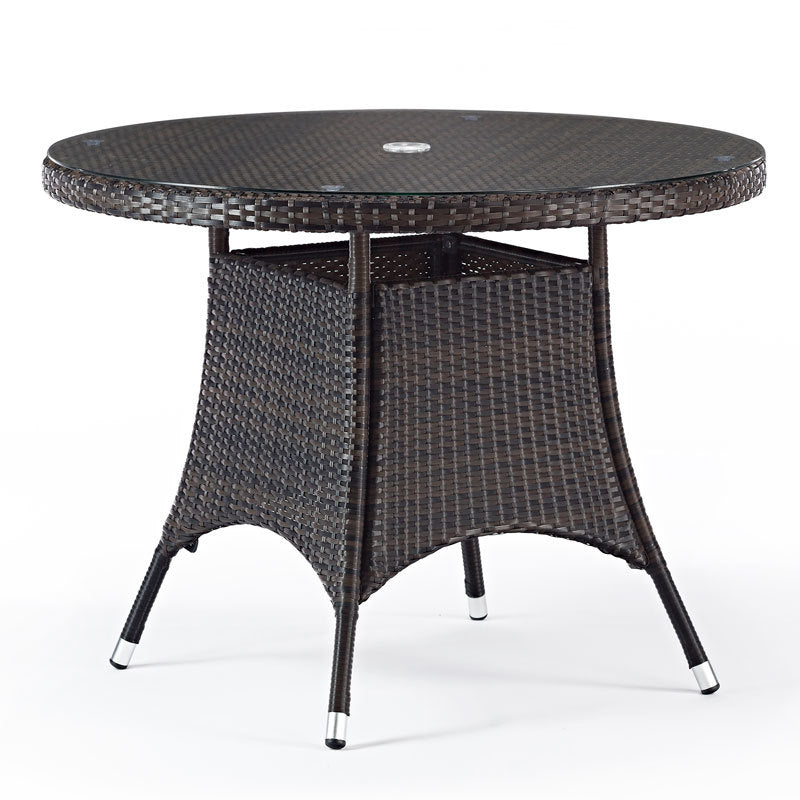 Round Rattan Table with Glass Top 1m Diameter