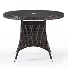 Load image into Gallery viewer, Round Rattan Table with Glass Top 1m Diameter