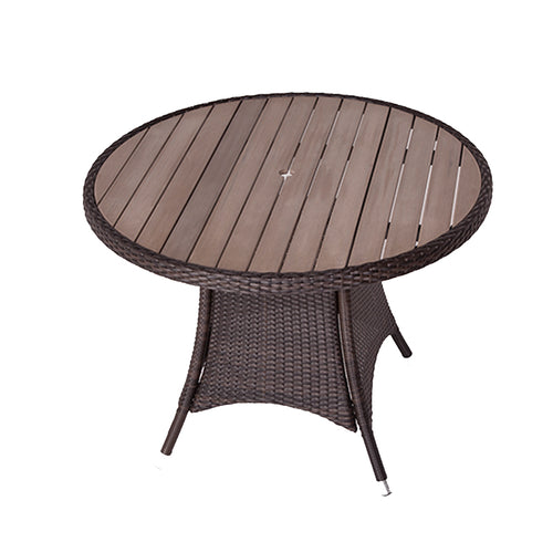 Rattan Garden Table with 100cm Round Plaswood Top
