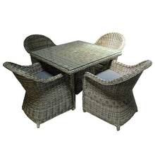Load image into Gallery viewer, Rattan 4 Seater Square Outdoor Dining Set