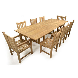 Large Eight Person Double Extending Outdoor Dining Set