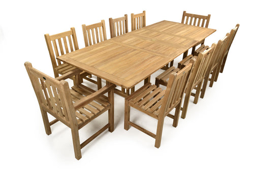 Large Ten Person Double Extending Outdoor Dining Set