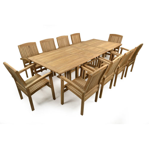 Large Ten Seater Double Extending Outdoor Dining Set