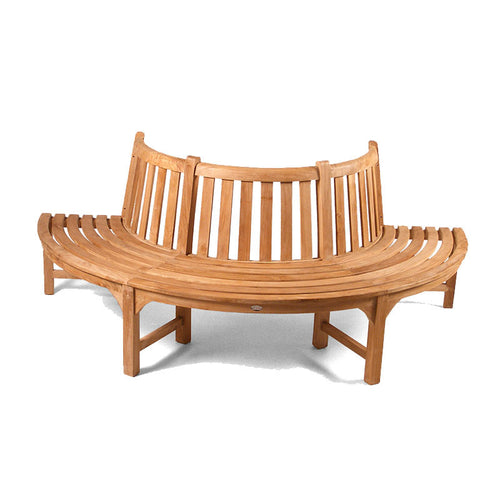 Large Half Round Teak Tree Park Bench For Trees up to 105cm