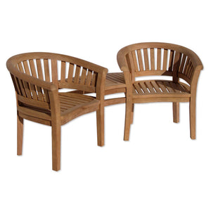Teak Love Seat - Jack and Jill 2 Seater Garden Bench