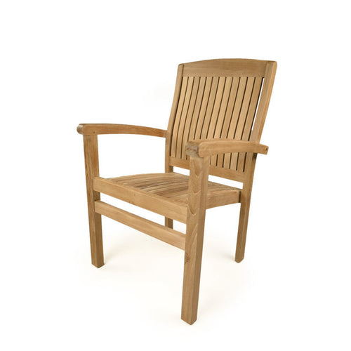 Luxury Grade A Teak Stacking Arm Chair