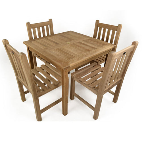 Teak 4 Seat Square Table Outdoor Dining Set