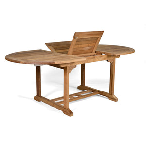 Single Leaf Oval Extending Teak Dining Table To Seat 6