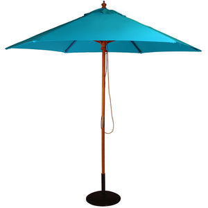 2.5M Parasol Hardwood Garden Umbrella, Sky Blue, Pulley Operated