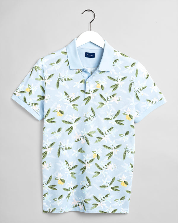 GANT Lemon Flower Polo Shirt - Sky Blue